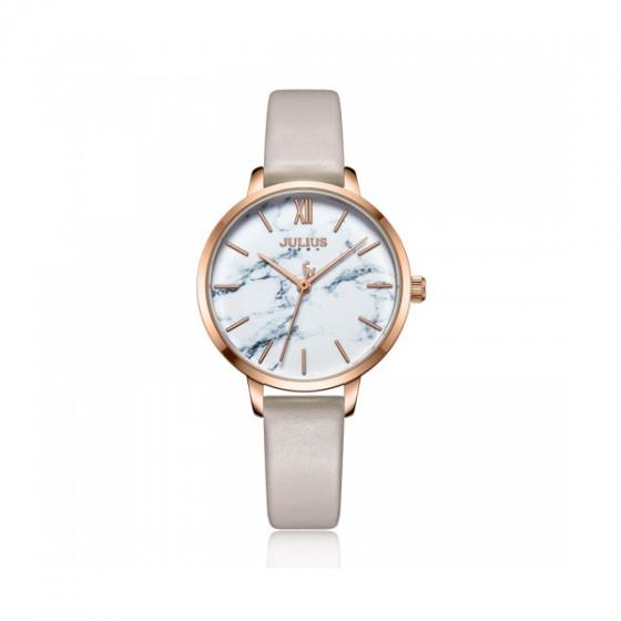 Đồng hồ nữ dây da Hàn Quốc Julius chính hãng ja-1101b ( kem )