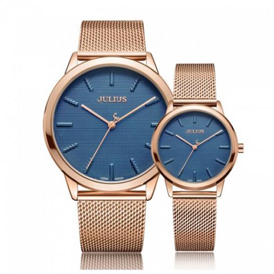 Đồng hồ cặp dây thép Julius Hàn Quốc ja-982d đồng mặt xanh