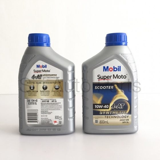 Dầu nhớt xe tay ga Mobil Super Moto Công nghệ Bán tổng hợp 10W-40 4AT 800ML nhập khẩu Singapore