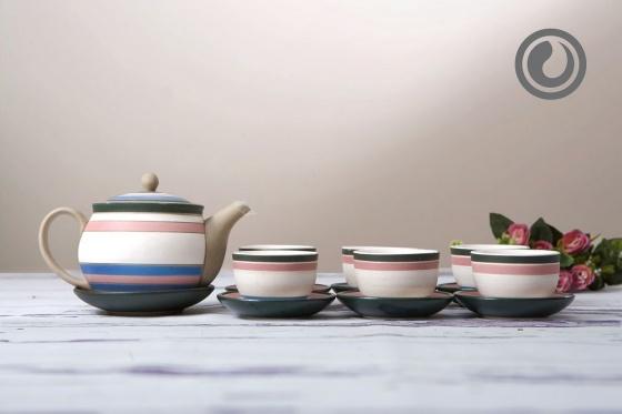 Bộ trà tròn kẻ màu 0.35L/SSA016