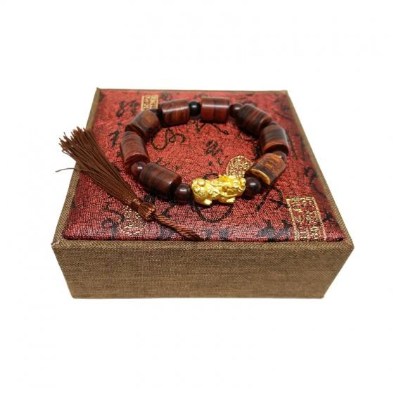 Vòng tay gỗ sưa đỏ 12 ly đốt trúc mix tỳ hưu bạc xi vàng (size nam)