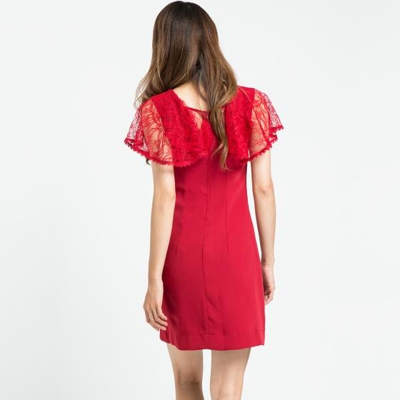 Đầm tay ren Hity DRE086 (Đỏ Auburn)
