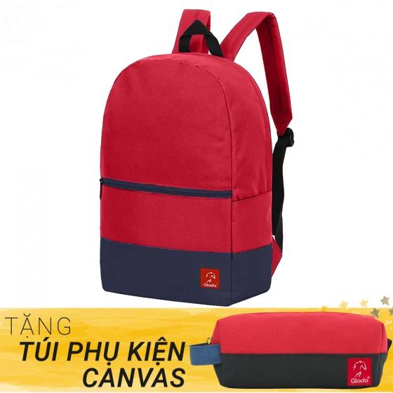 Balo thời trang Glado classical - BLL007 (màu đỏ phối xanh) - tặng túi phụ kiện canvas
