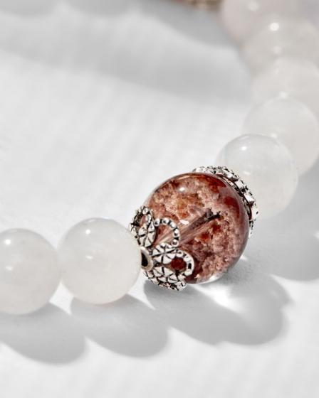 Vòng tay mệnh Kim đá Moonstone mix ưu linh nâu charm lá