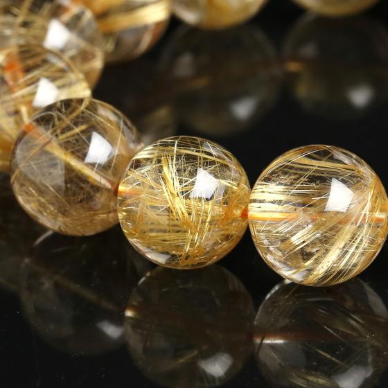 Vòng tay thạch anh tóc vàng 15mm đặc biệt cao cấp Hadosa chuẩn cao 6A
