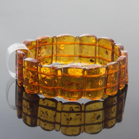 Vòng hổ phách Baltic nâu vàng bản 18mm cao cấp Hadosa