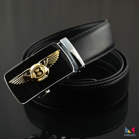 Thắt lưng dây nịt nam da bò 2 lớp mặt khóa Bentley Manzo 250 ( tặng móc khóa da bò)