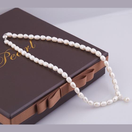 Opal - Vòng cổ ngọc trai oval trắng T01