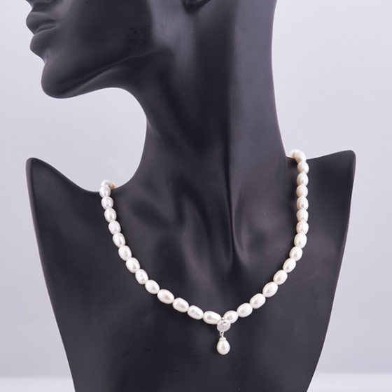 Opal - Vòng cổ ngọc trai oval trắng _T01