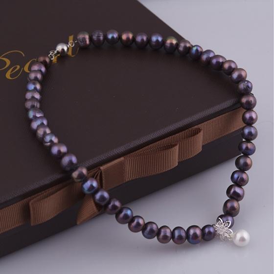 Opal - Vòng cổ ngọc trai đen đính mặt đá và ngọc trai _T01