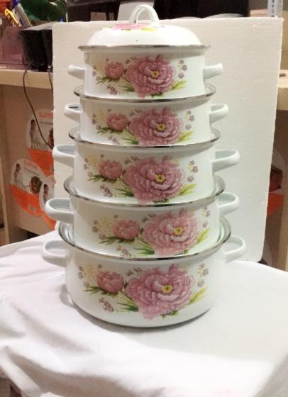 Bộ nồi tráng men cao cấp in hoa xuất khẩu EDEN [Dùng trên mọi loại bếp]