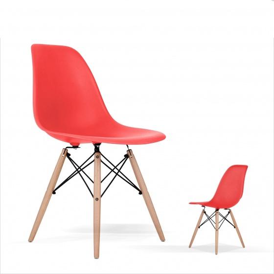 Kachi – Ghế nhựa Eames chân gỗ FP-235 (E1) Đỏ