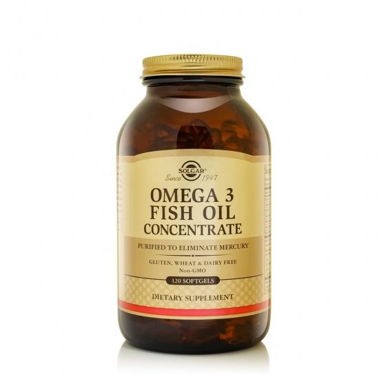 Combo dầu cá Solgar® Omega-3 Concentrate 120 viên nang mềm và quà tặng miễn phí (Glucosamine xương khớp + Áo thun)