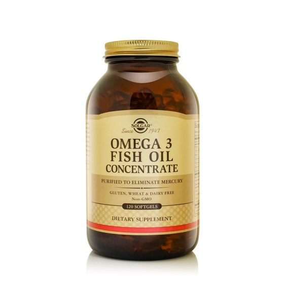 Combo dầu cá Solgar® Omega-3 Concentrate 120 viên nang mềm và quà tặng miễn phí (Tảo lục Chlorella + Áo thun)