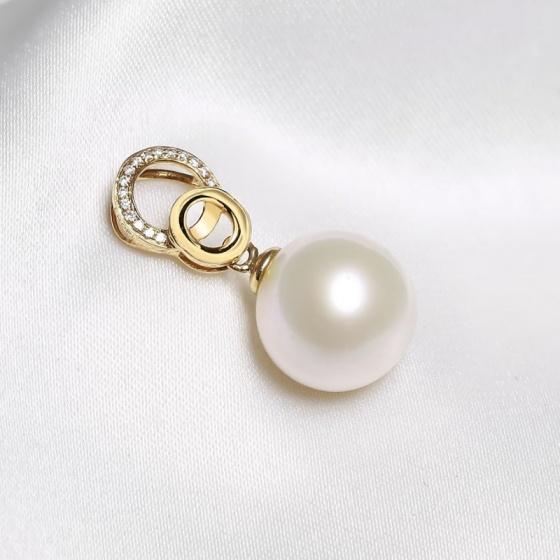 Mặt dây chuyền vàng 18k ngọc trai thật 9.5-10mm đính kim cương Tina