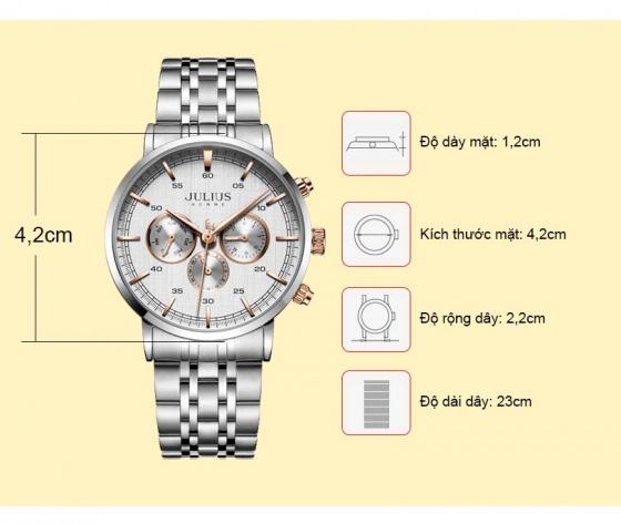 Đồng hồ nam 6 kim JAH-100 Julius Hàn Quốc (4 màu)