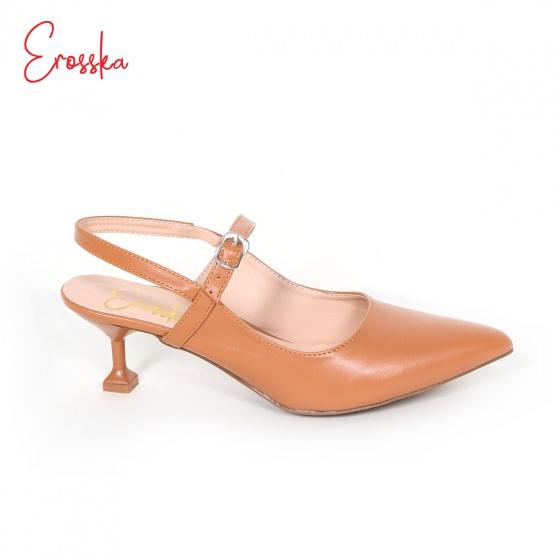 Giày nữ, giày cao gót kitten heels Erosska đế nhọn cao 5cm phối dây tinh tế - EH025 (BR)