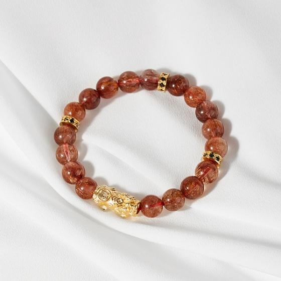 Vòng thạch anh tóc đỏ phối tỳ hưu mạ vàng 24k Ngọc Quý Gemstones