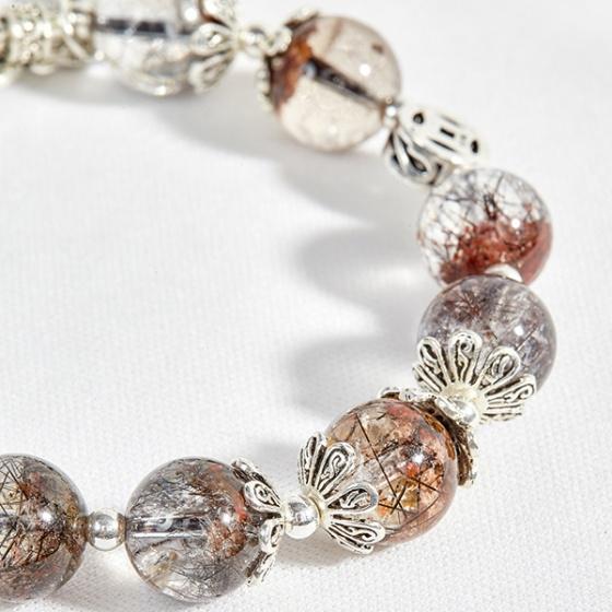 Vòng thạch anh ưu linh tóc phối charm đồng hồ bạc Ngọc Quý Gemstones
