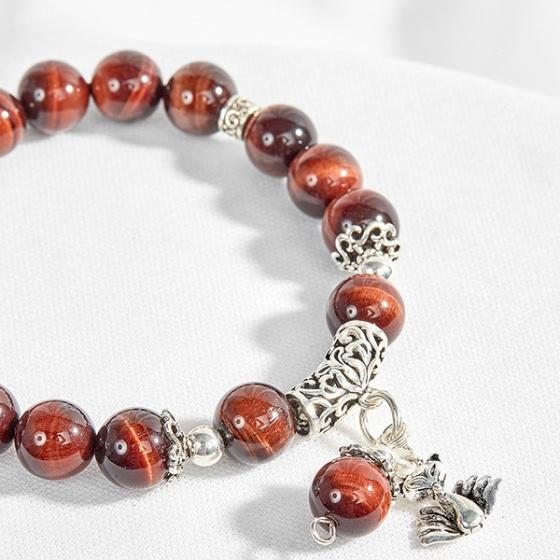 Vòng đá mắt hổ nâu đỏ  phối charm bạc hồ ly 9 đuôi Ngọc Quý Gemstones