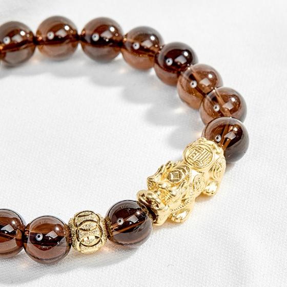 Vòng đá thạch anh khói phối tỳ hưu bạc mạ vàng 24k Ngọc Quý Gemstones