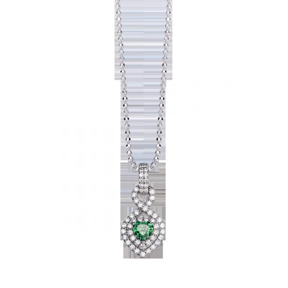 Mặt dây chuyền bạc đính đá màu xanh lá PNJSilver ZTXMK000006