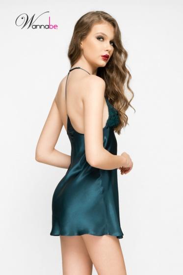 Đầm ngủ phi lụa Wannabe DN583 cutout lưng dạng áo 2 dây gợi cảm (Xanh đá)