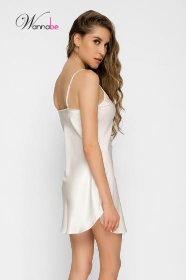 Đầm ngủ phi lụa wannabe DN586 phối ren hoa nổi tinh tế cho người mặc (Kem)