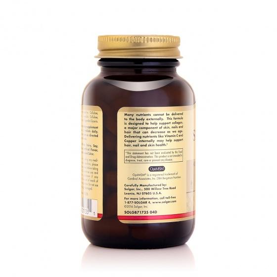 Viên uống hỗ trợ sức khỏe da, tóc, móng Solgar® Skin, Nails, Hair 60 viên - Nhập khẩu USA - tặng kèm áo thun