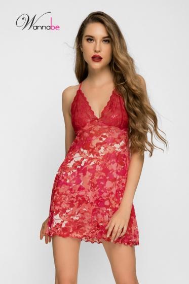 Đầm ngủ gợi cảm Sexy Wannabe DN582 rã cúp ren đầy gợi cảm (Beo đỏ)