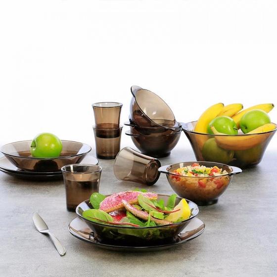 Bộ bàn ăn 9 món thủy tinh chịu lực Duralex Pháp Lys nâu khói