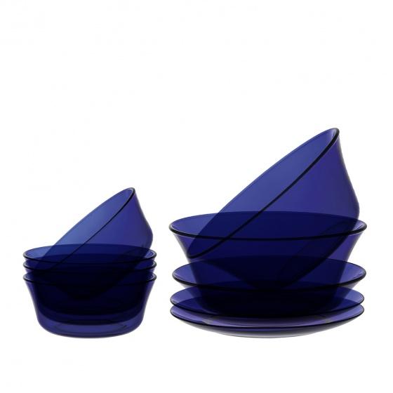 Bộ bàn ăn 9 món thủy tinh cường lực Pháp Duralex Lys Xanh Saphir