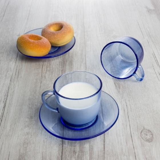 Set tách và dĩa ly thủy tinh chịu lực Duralex Pháp lys xanh 220 ml