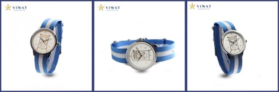 Viwat Sai Gon Nữ VW-122S Dây Nato trắng xanh da trời