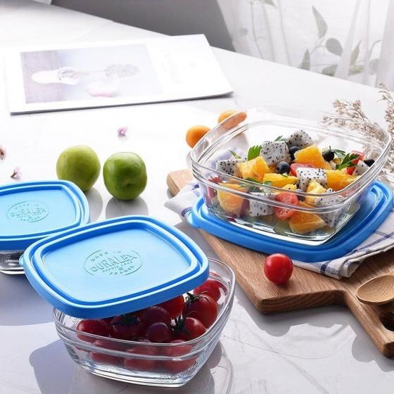 Hộp thực phẩm thủy tinh cường lực Pháp Duralex Freshbox Nắp Xanh Blue 610ml