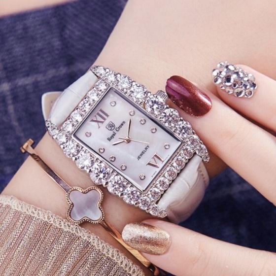 Đồng hồ nữ chính hãng Royal Crown 6111 dây da trắng