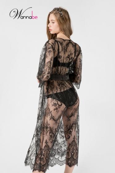 Áo choàng ngủ Wannabe KI614 ren lông mi sang trọng, quý phái