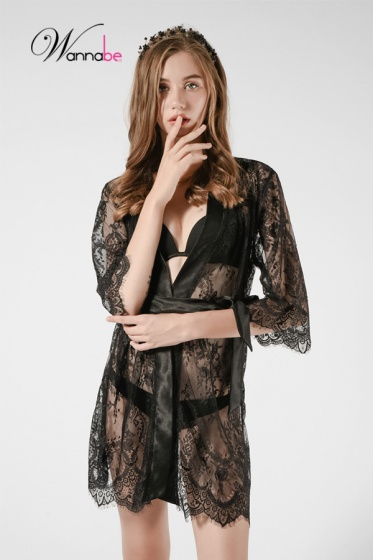 Áo choàng ngủ Wannabe KI613 ren lông mi nữ tính quyến rũ