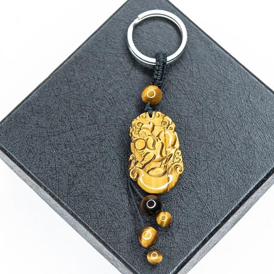 Móc khóa 12 con giáp đá mắt hổ vàng - Tuổi Hợi MKTIGYHOI12 VietGemstones