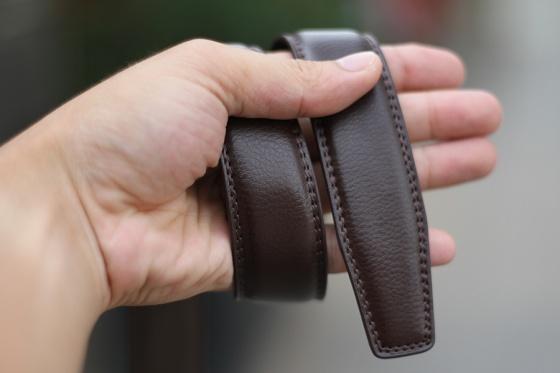 Thắt lưng dây nịt nam da bò 2 lớp  Manzo 203 bản nhỏ 3.1cm dành riêng cho quần Âu