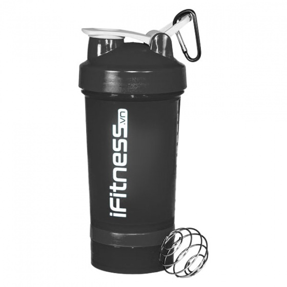Bình lắc iFitness Pro Shaker 4-in-1 - Đen