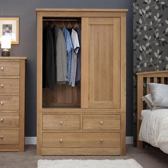 Tủ quần áo cửa lùa hai cánh ba ngăn kéo Torino gỗ sồi 1m2 - Cozino