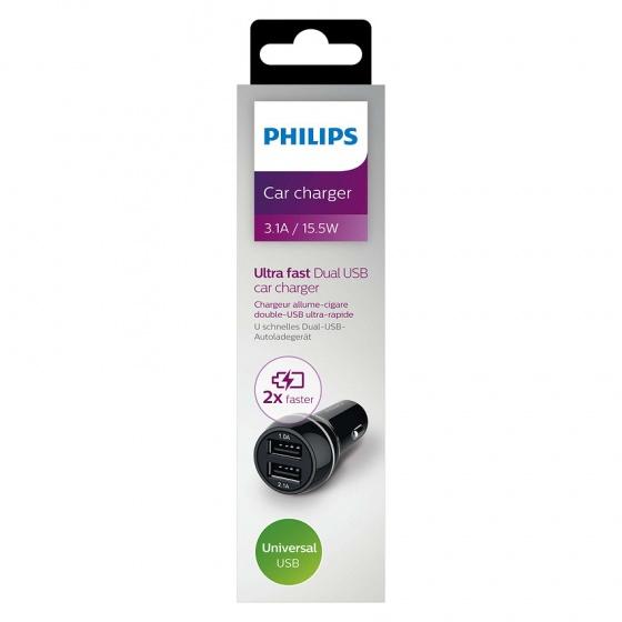 Bộ sạc điện thoại trên xe hơi Philips DLP2357 với 2 cổng kết nối USB