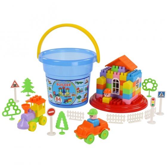 Bộ đồ chơi lắp ghép xây dựng kèm xô Maxi 84 chi tiết Polesie Toys