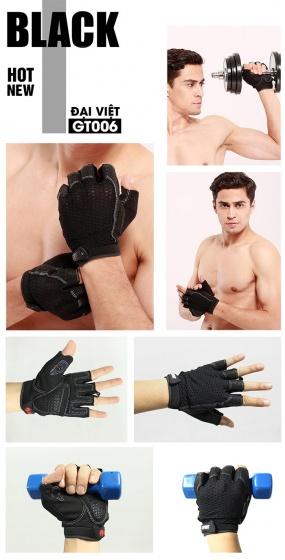 Găng tay tập gym Đại Việt GT006 đen size M (đôi)