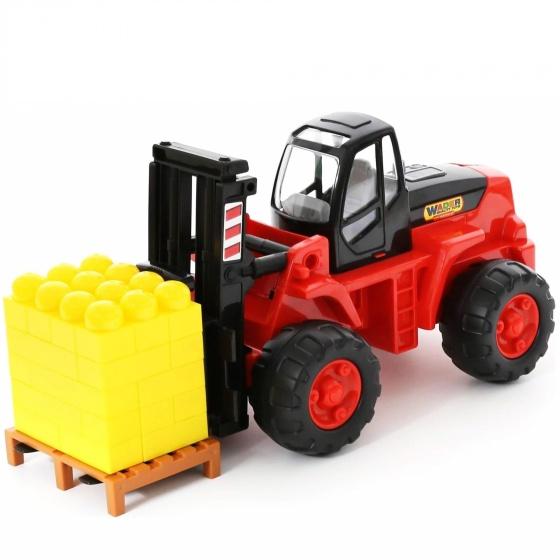 Xe nâng kèm bộ xếp hình 30 chi tiết đồ chơi Wader Quality Toys