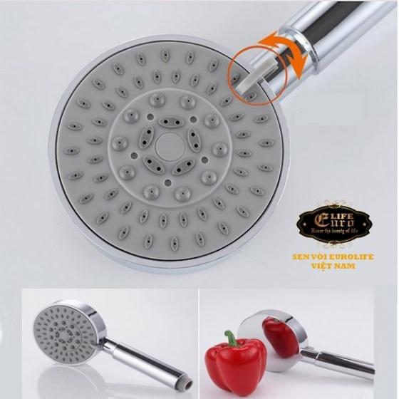 Bộ tay dây sen 5 chế độ phun nước Eurolife EL-100SH (trắng bạc)