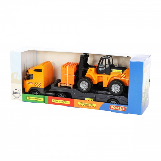Xe tải rơ móoc Volvo chở xe nâng kèm bộ xếp hình 30 chi tiết đồ chơi Polesie Toys