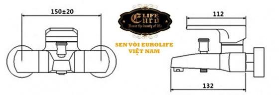 Bộ vòi sen nóng lạnh đồng mạ chrome Eurolife EL-6001 (trắng bạc)