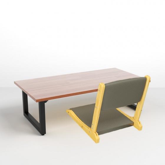 Bộ bàn bệt Rec-B gỗ cao su và ghế Pisu - IBIE